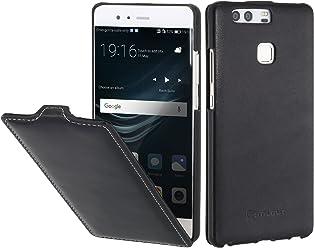 StilGut UltraSlim Case, custodia in vera pelle flipcase con chiusura verticale cover sottile per Huawei P9, Nero Nappa