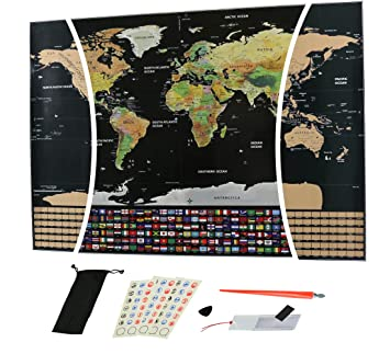 Amazon scratch off world map with outlined us states and scratch off world map with outlined us states and country flags large size 325quot gumiabroncs Images