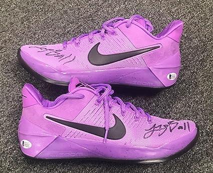 buy popular c2a1b c6d7c 42306 Lonzo Ball 2x Signed NIKE Kobe Purple Stardust Sneakers Sz 10 BAS COA  - Beckett