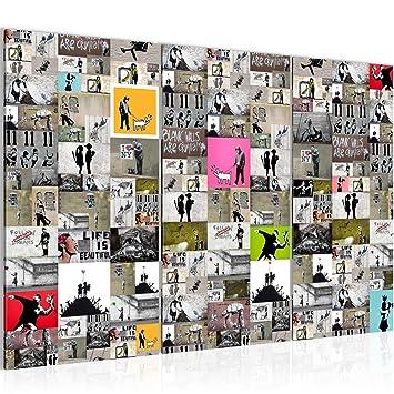Bilder Collage Banksy Street Art Wandbild 120 x 80 cm - 3 Teilig ...