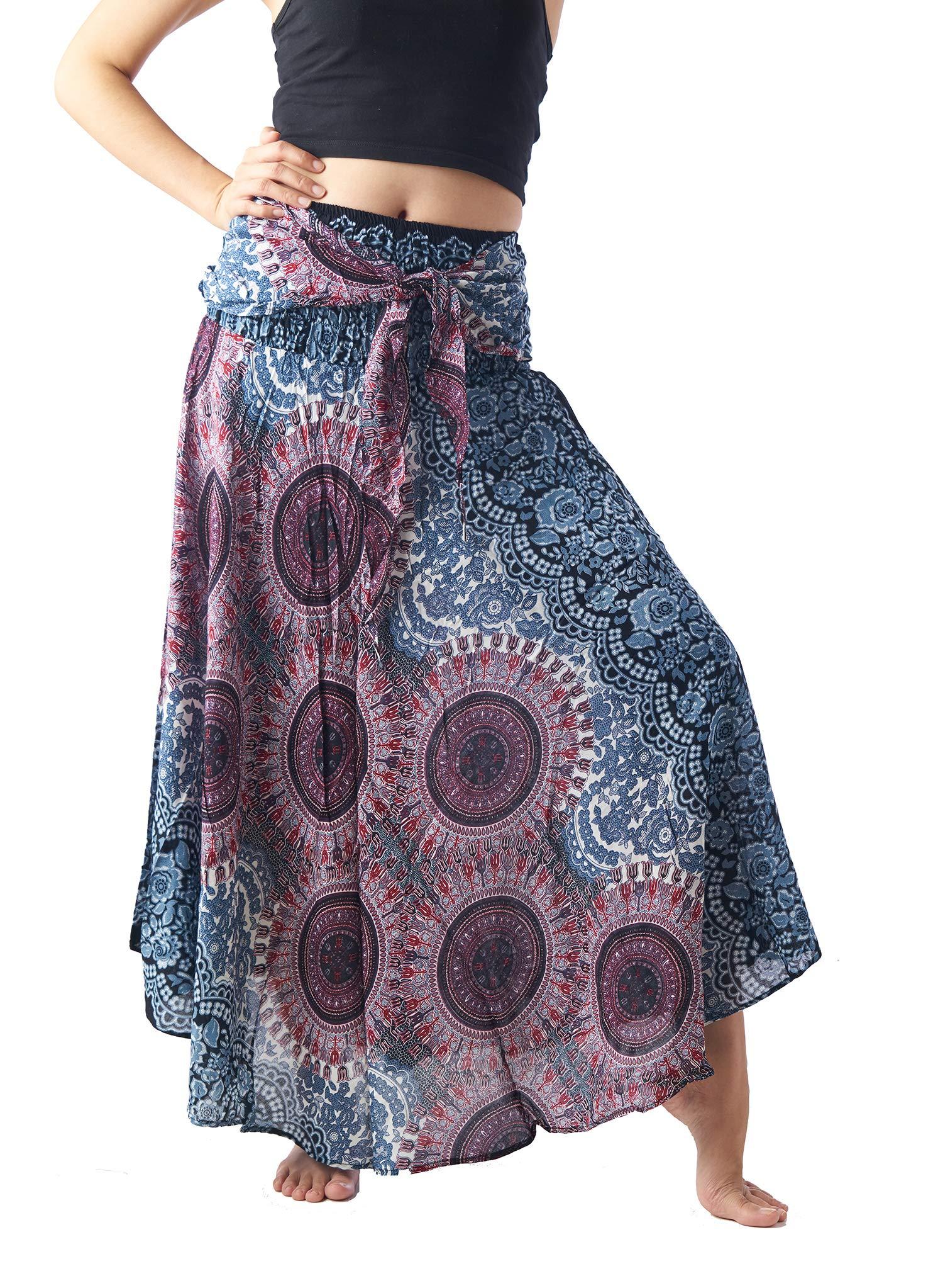 a243f578592fd Bangkokpants Women's Long Hippie Bohemian Skirt Gypsy Dress Boho Clothes  Flowers One Size Fits Asymmetric Hem Design ...