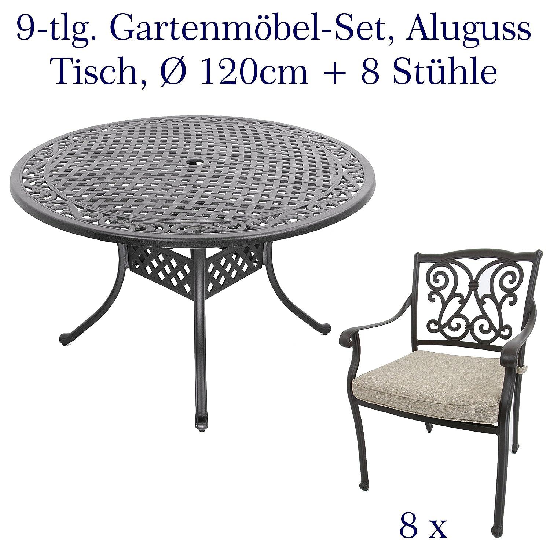 Made for us Aluguss Gartenmöbel Set, Gartenmöbelgarnitur bestehend aus Gartentisch Ø 120 cm mit 6 Gartenstühlen (Tisch, rund Ø120 cm + 8 Gartenstühle)