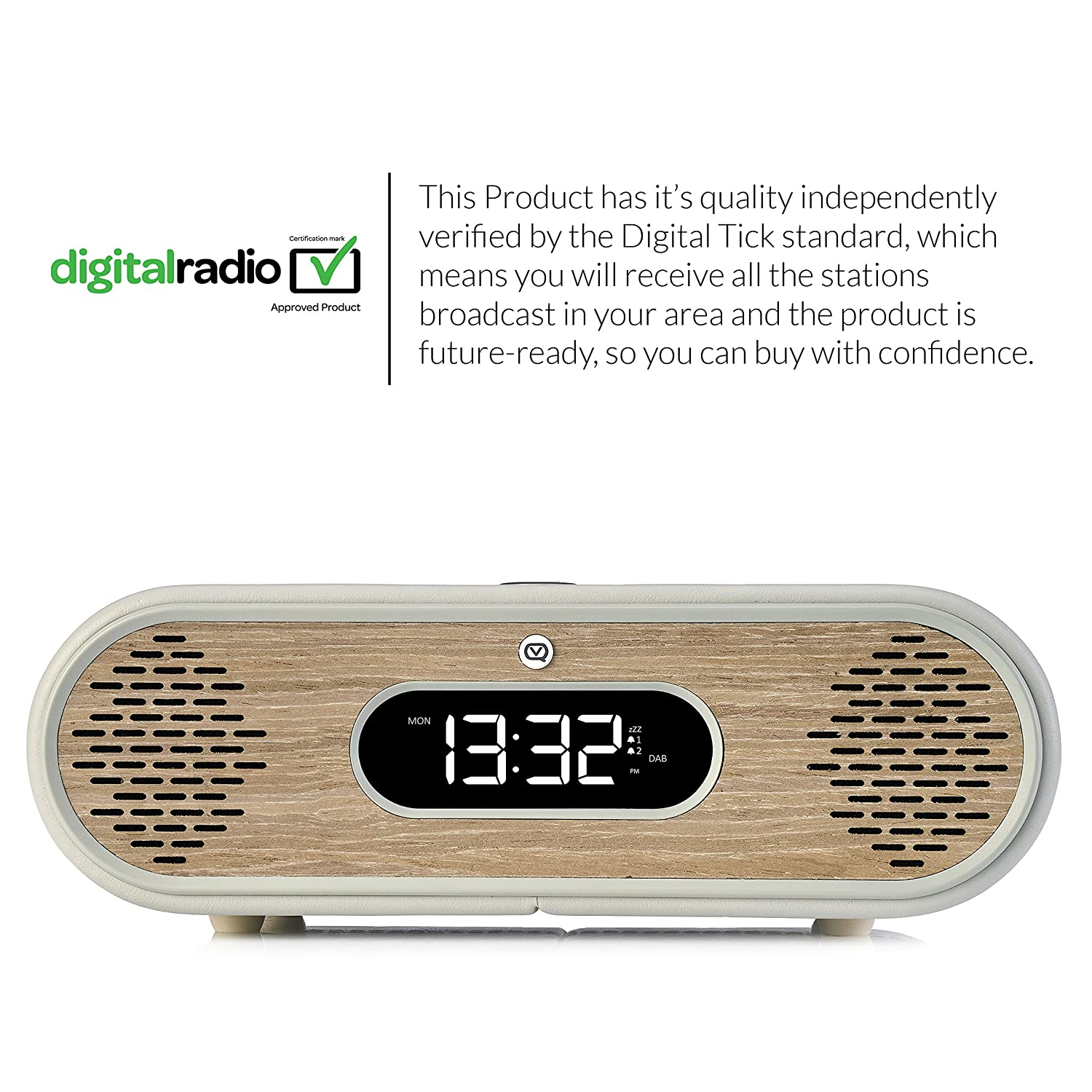 Real Wood Case VQ Rosie-Lee DAB // DAB Grey /& Green Grass Oak digital and FM radio with Bluetooth and alarm function
