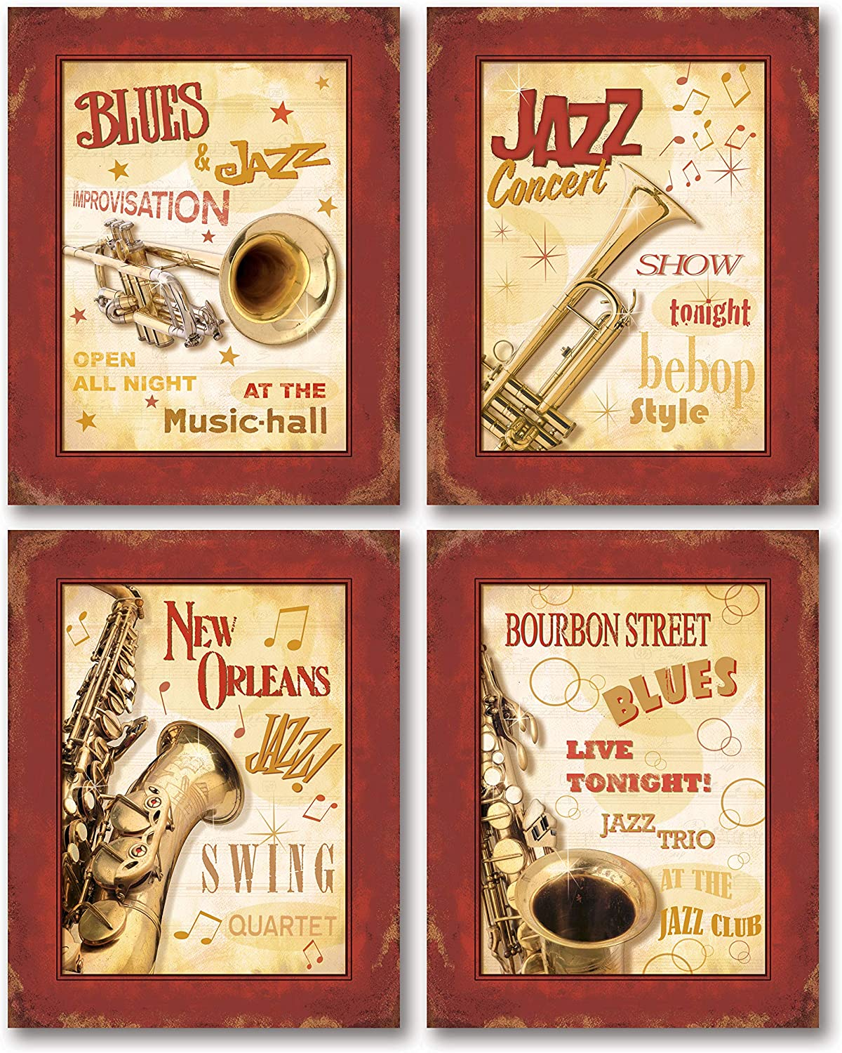 Vintage New Orleans Jazz and Blues Show Signs; Four 8x10in Poster Prints. Red/Cream