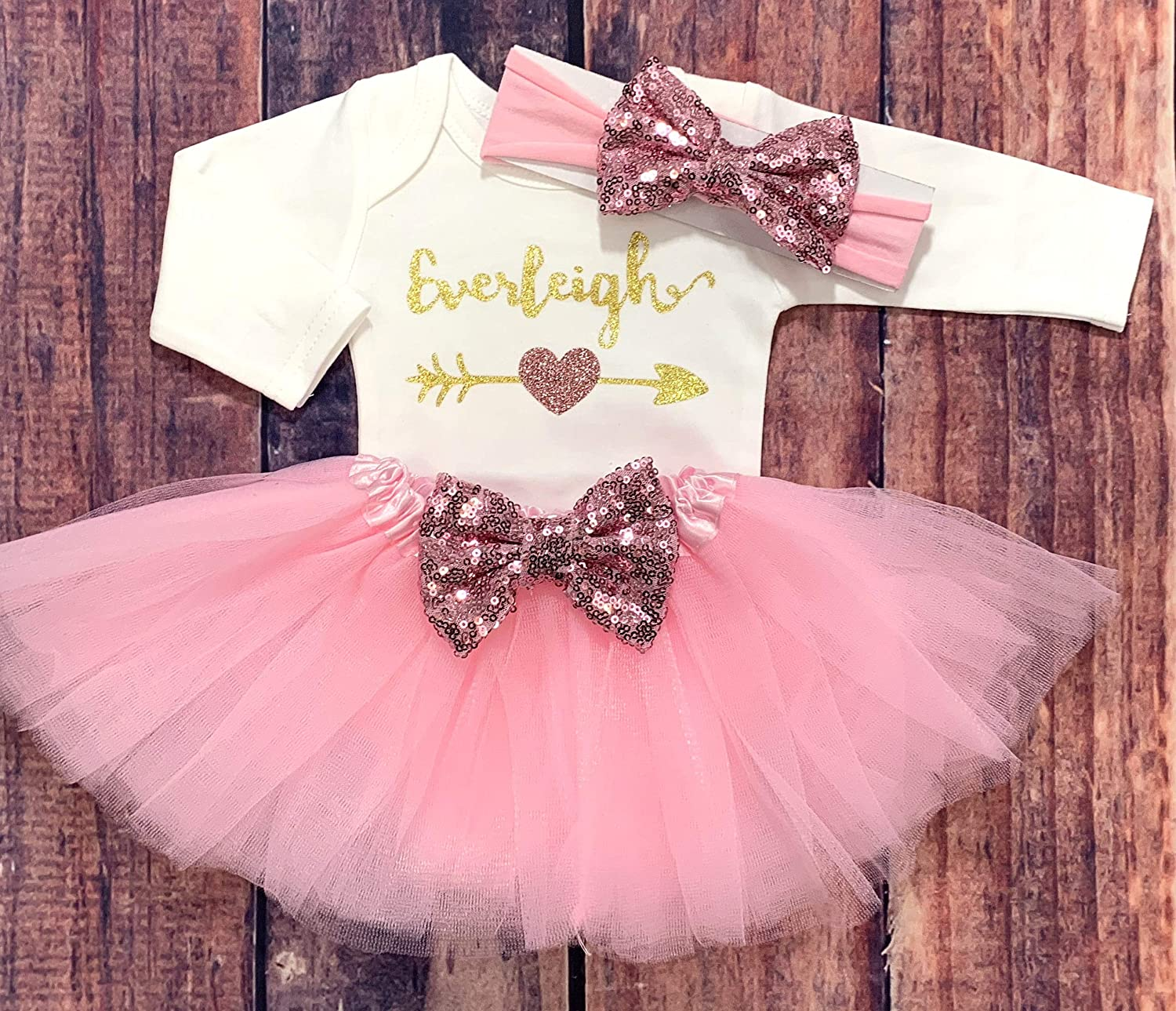 234b9f5fe Amazon.com: Personalized Coming Home Outfit Baby Girl Clothes Take Home  Outfit Personalized Name Shirt Baby Girl Shirt Personalized Baby Shower Gift:  ...