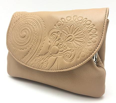 Cartera Portamonedas Monedero para Mujer Marca: Lugupell - Color: Cuero (12,5