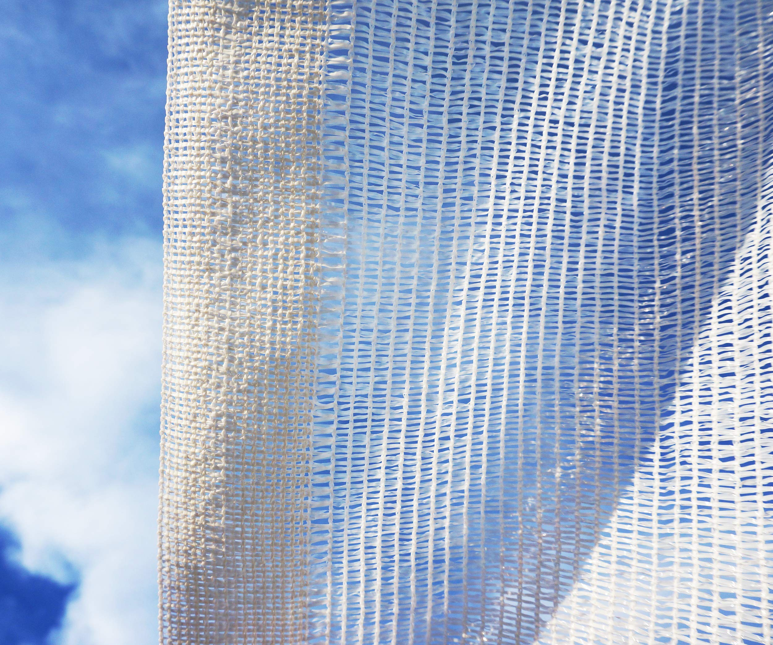 SHANS Shade Cloth Fabric White 50% Sunshine Ultraviolet Blocking Rate Free Clips Plastic Grommets (10ft x 210ft)