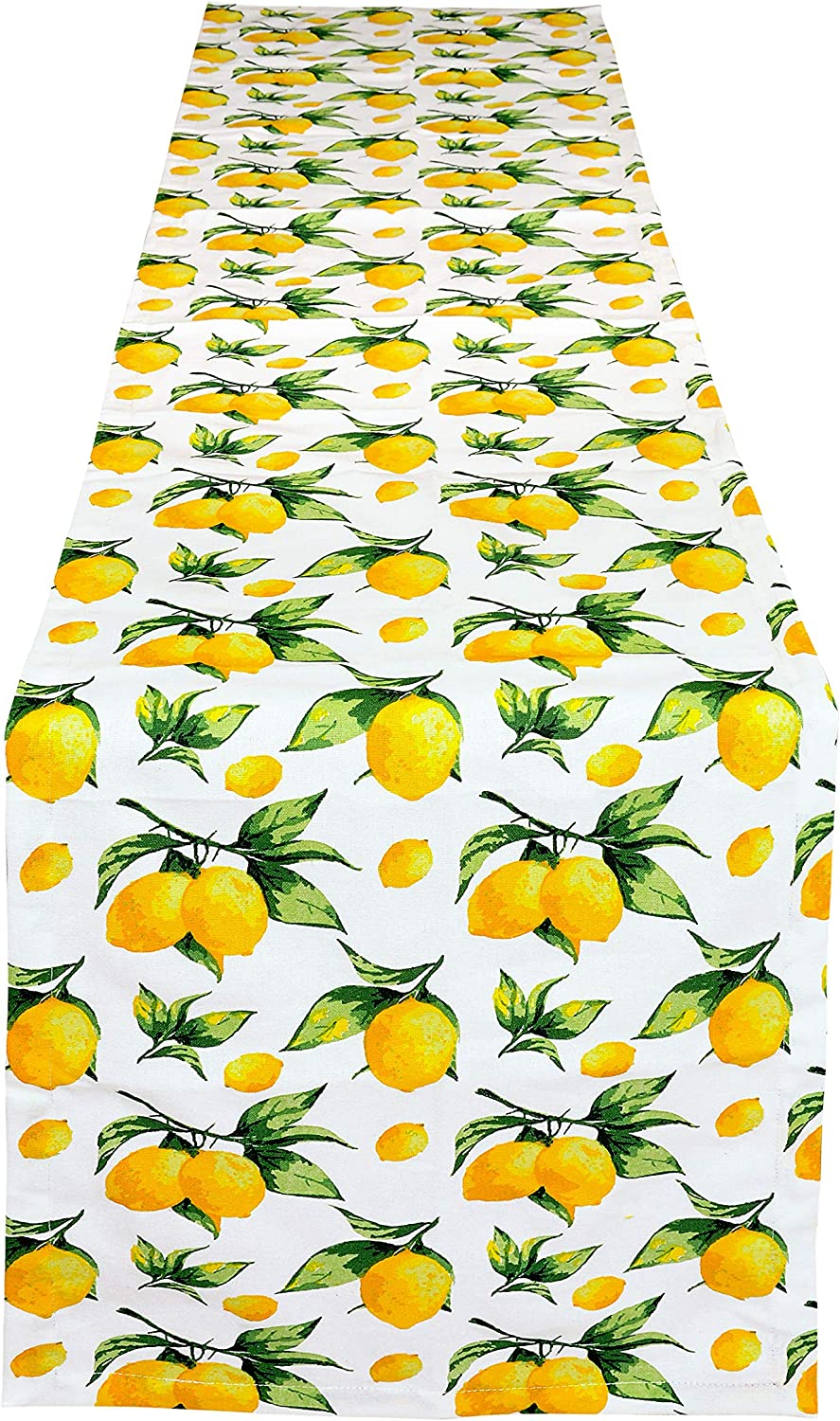 Yourtablecloth Table Runner 100% Cotton Tablerunner Elegant Décor for Indoor&Outdoor Events-Lemon, 14 x 108