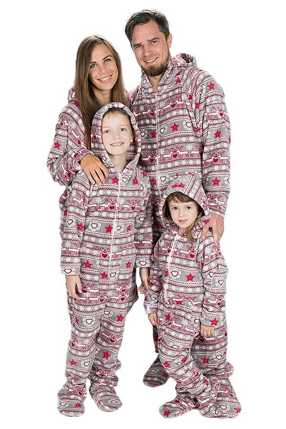 Sueño De Navidad Kajamaz: Pijama Con Pies Para Adultos, Pijama Entero Con Pies Para Adutos y Niños Con Estampados Navideños De Estilo Nórdico Con Corazones, ...
