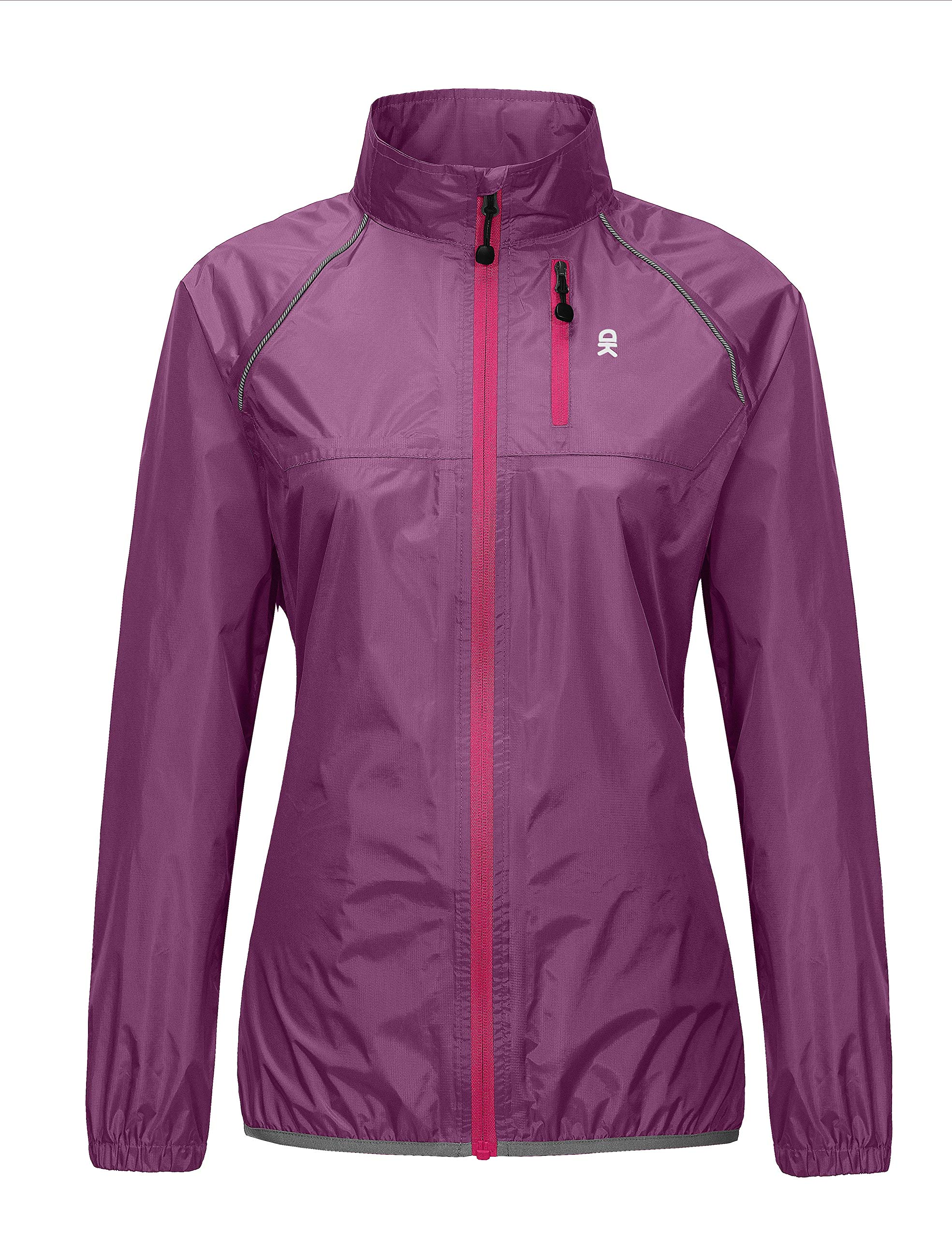 Little Donkey Andy Women's Waterproof Cycling Bike Jacket, Running Rain Jacket, Windbreaker, Ultralight and Packable Purple XL by Little Donkey Andy