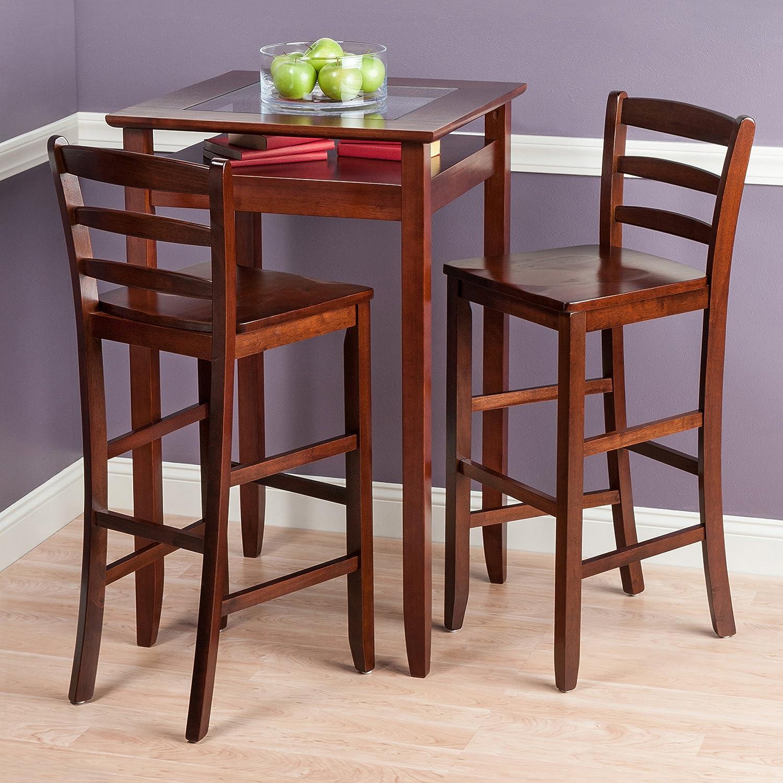 Amazon.com: Winsome Wood Halo 3 Piece Pub Table Set With 2 Ladder Back  Stools: Kitchen U0026 Dining
