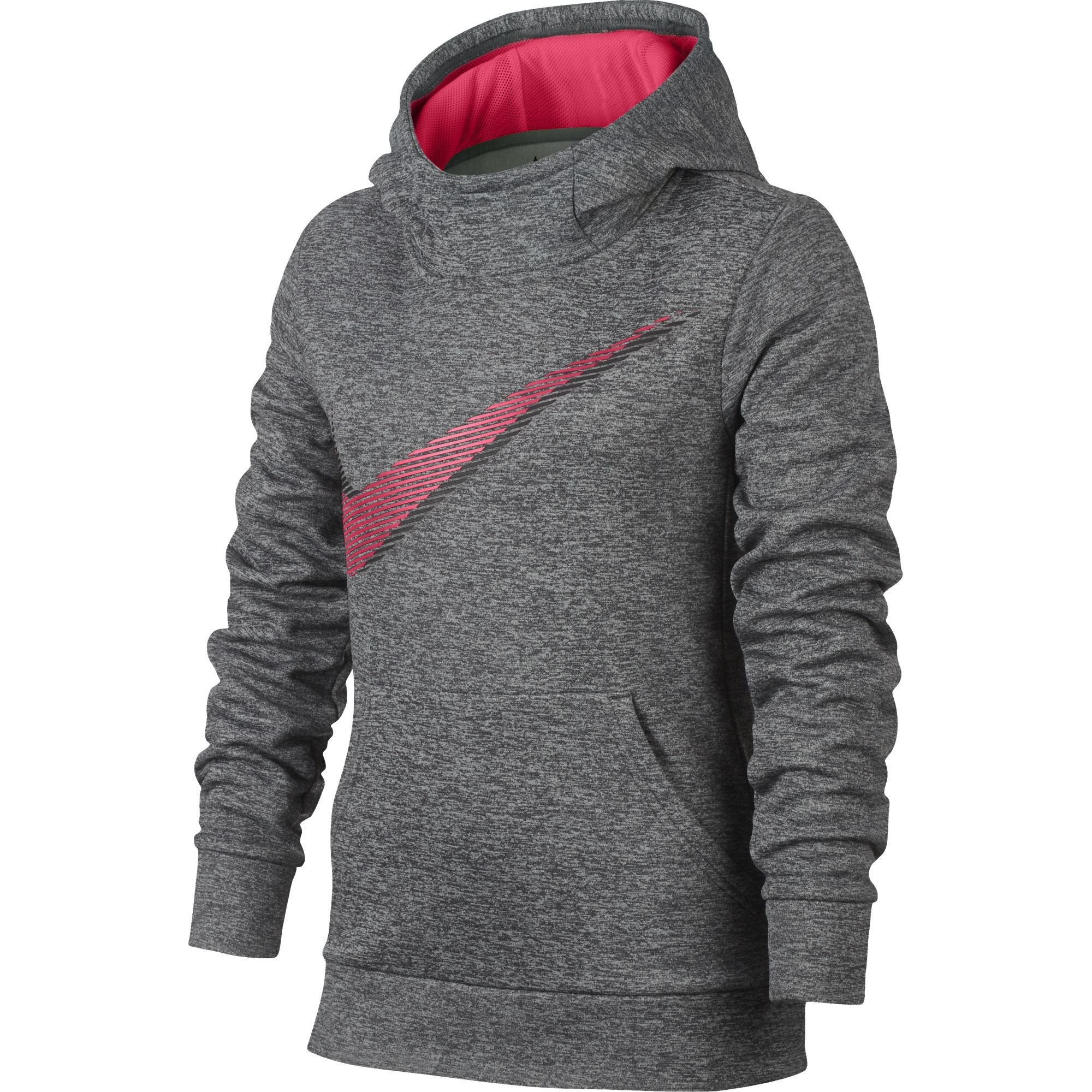 NIKE Girl's Therma Training Hoodie Dark Grey Heather/Racer Pink Size X-Large