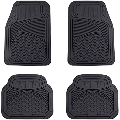 Basics 4 Piece Heavy Duty Car Floor Mat, Black: Automotive