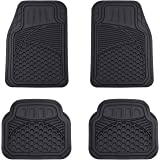 Amazon Basics 4 Piece Heavy Duty Car Floor Mat, Black