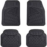 Amazon Basics 4-Piece Thick Flexible Rubber Car Floor Mat, Black