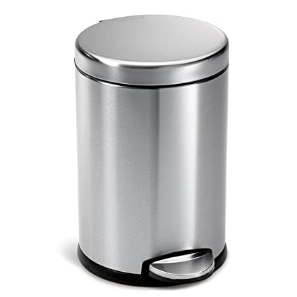 simplehuman round step trash can fingerprint proof brushed stainless steel 45 liter - Bathroom Trash Can With Lid