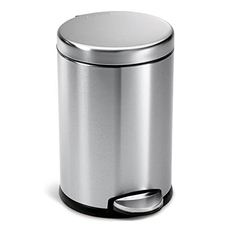 Amazoncom Simplehuman Round Step Trash Can Fingerprint Proof
