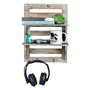 Besti Rustic Wall Shelves w/Hanging Hooks – Dual Shelving Wall-Mounted Organizer – 2 Tier Storage Rack Brown – Cute Rustic Organizers – Home Decorative Furniture