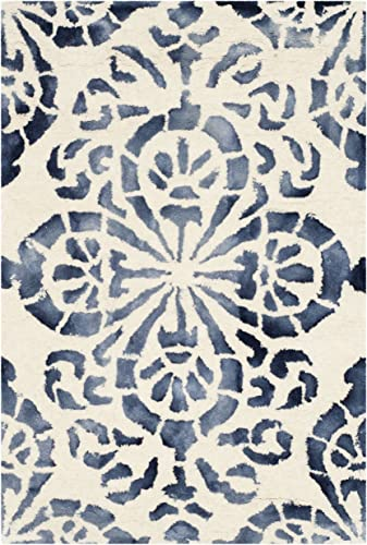 Safavieh Dip Dye Collection DDY719P Handmade Geometric Medallion Watercolor Ivory and Navy Wool Area Rug 2 x 3