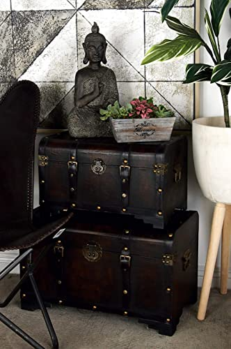 Deco 79 Wood Usable Leather Trunk