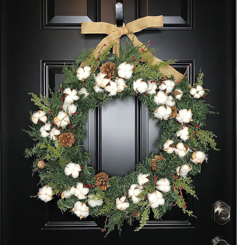 Amazon Com Large Rustic Farmhouse Cotton Christmas Wreath With