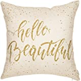 "Fjfz Hello Beautiful Motivational Sign Inspirational Quote Cotton Linen Home Decorative Throw Pillow Case Cushion Cover for Sofa Couch, 18"" x 18"""