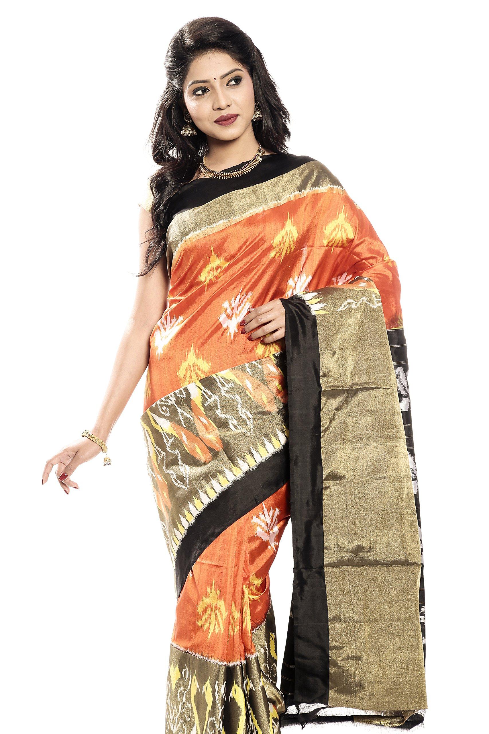 Mandakini — Indian Women's Pochampally - Handloom - Ikat Pure Silk Saree (Orange-Black ) (MK320)