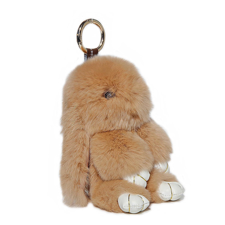 RitzyBay Handmade Rex Rabbit Fur Bunny Keychain with RitzyBay GiftBox