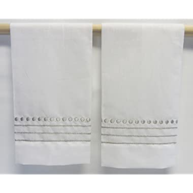 Saro White Embroidered Hand Towels with Taupe Dotted and Striped Border (set of 2)