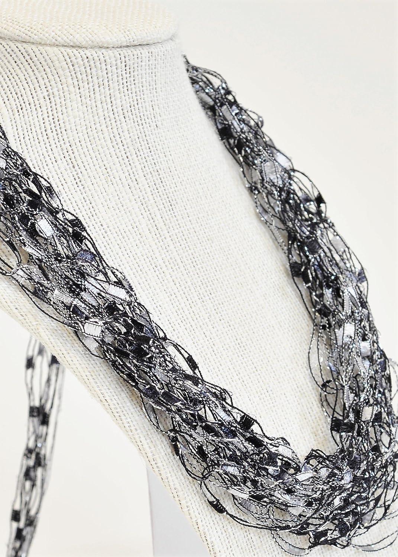 Crochetlaces Adjustable Soft LIGHTWEIGHT Crochet Yarn Necklace Scarf Gift Idea- Elegance