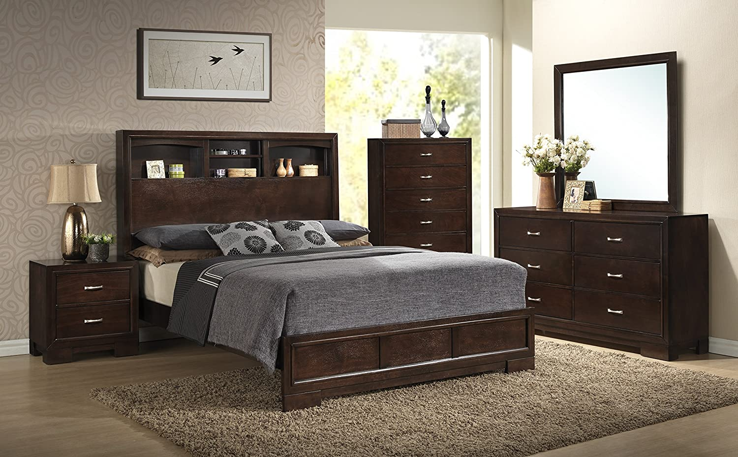 Roundhill Furniture Montana Modern 5-Piece Wood Bedroom Set with Bed, Dresser, Mirror, Nightstand, Chest, King, Walnut