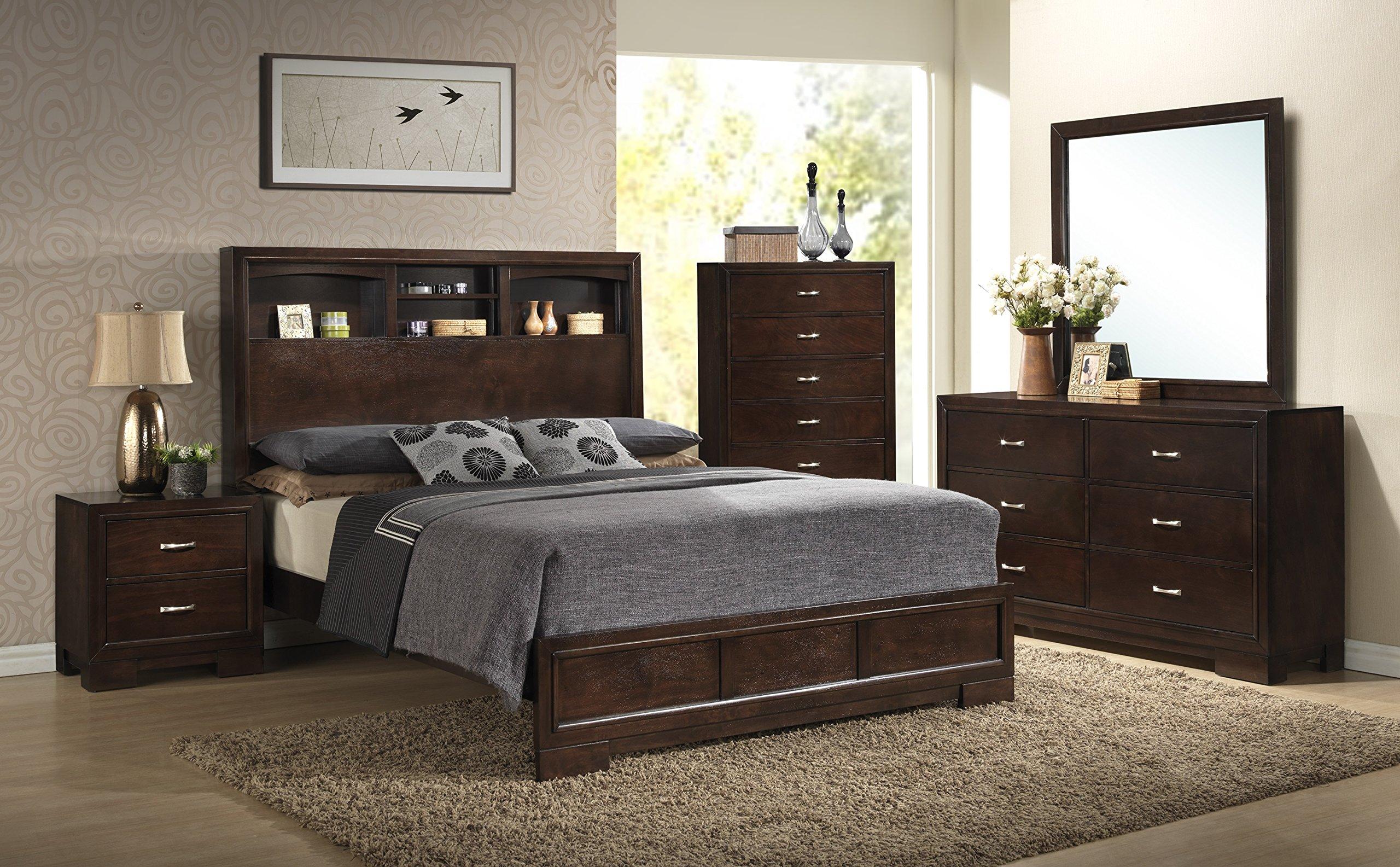 Roundhill Furniture Montana Modern 5-Piece Wood Bedroom Set with Bed, Dresser, Mirror, Nightstand, Chest, King, Walnut