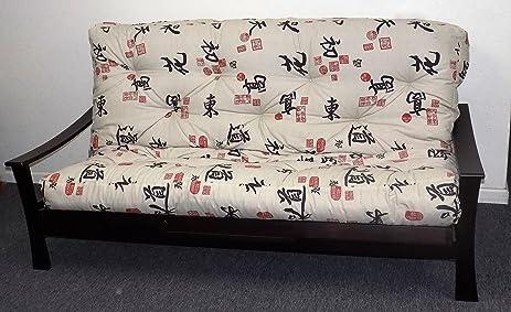 memory foam futon mattress asian print upholstery fabric factory direct full queen  full amazon    memory foam futon mattress asian print upholstery      rh   amazon