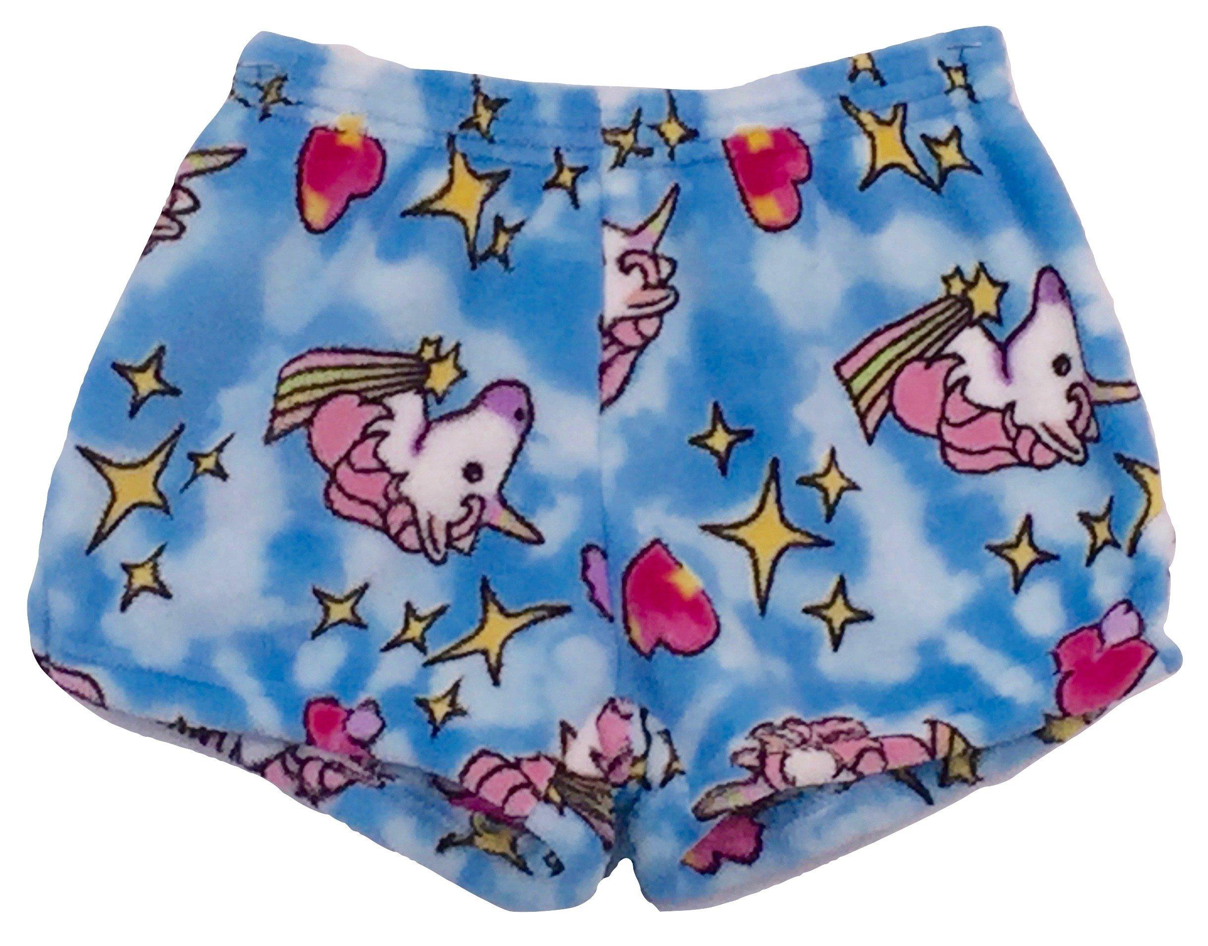 Made with Love and Kisses Girl's Fuzzy Plush Pajama/Loungewear Shorts - Blue Unicorns - 10/12