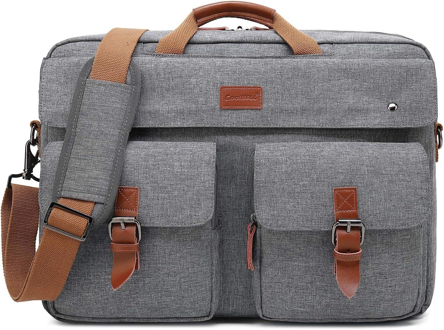 CoolBELL Convertible Messenger Bag Backpack Laptop Shoulder Bag Business Briefcase Leisure Handbag Multi-Functional Travel Bag Fits 17.3 Inch Laptop for Men Women College Grey