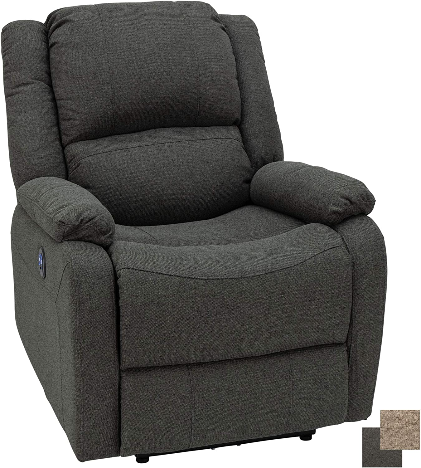 """RecPro Charles 30"""" Powered RV Wall Hugger Recliner in Cloth   Zero Wall Powered Reclining Chair   RV Furniture   Camper Furniture   RV Recliner (1 Pack, Fossil)"""