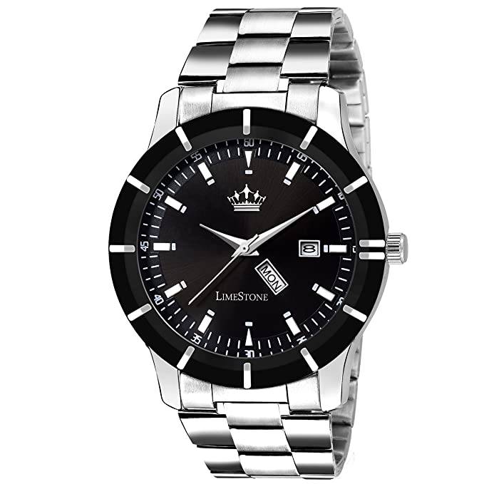 Limestone Day And Date Functioning Series Analog Black Dial Watch For Men/Boys - (Ls2724)