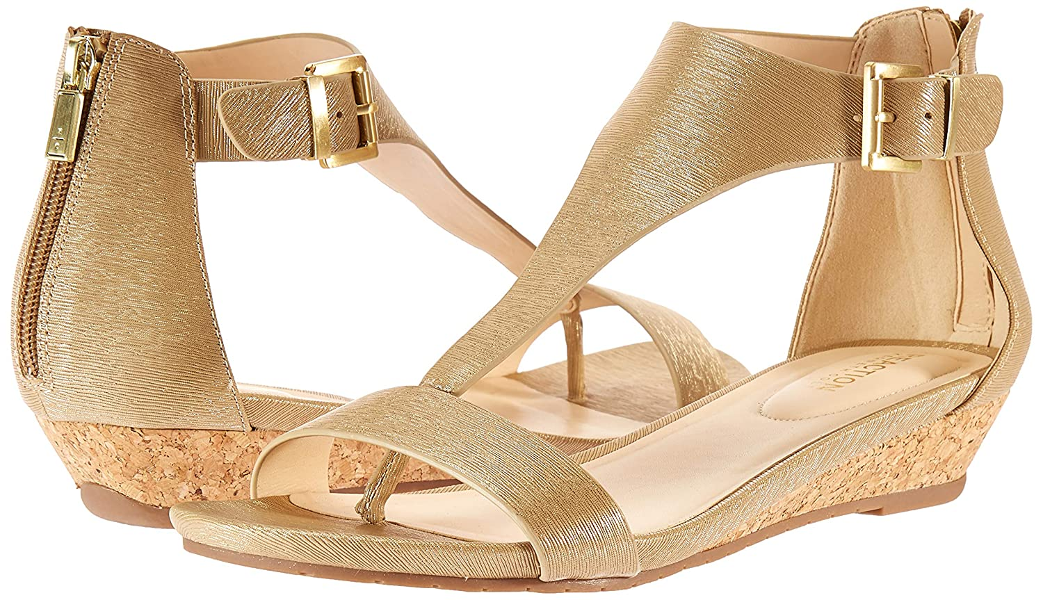 Kenneth Cole REACTION Womens Great Gal T-Strap Low Wedge Sandal Wedge Sandal
