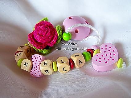 Chupete Cadena, nombre, Rose, Flores, Baby, niña, Rosa ...