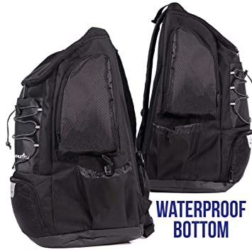 Amazon.com: Athletico Swim Backpack - Pool Bag with Wet & Dry Compartments for Swimming, The Beach, Camping and More (Black): Sports & Outdoors