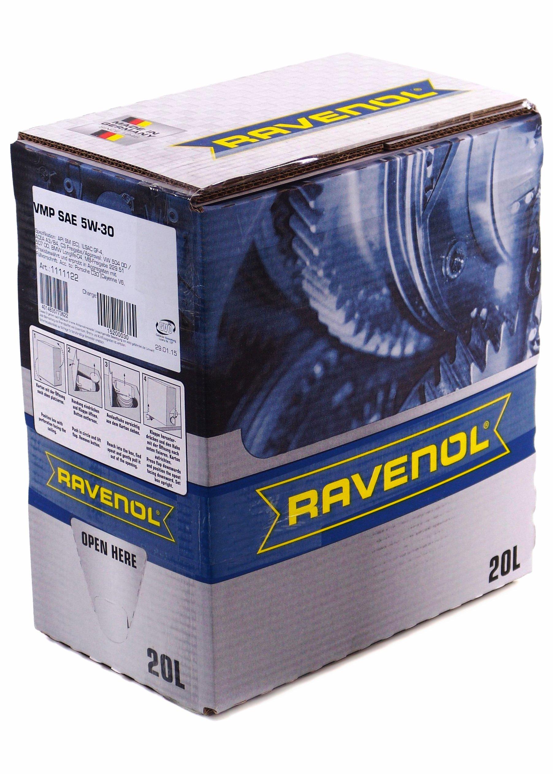 RAVENOL J1A1519-BiB SAE 5W-30 Motor Oil - VMP BMW Longlife-04, MB 229.51, VW 504 00, 507 00 Approved (20L (Bag-in-Box)) by Ravenol