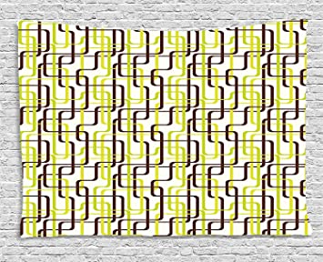 Qinghexianpan Géométrique Tapisserie, Sixties Mode Inspiré Lié Lignes  élégantes Formes, à Suspendre Au Mur Pour Chambre ...