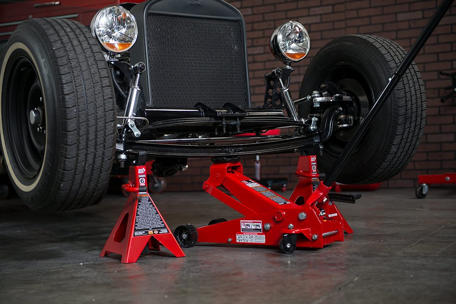 Double Locking Torin T46002A Big Red Steel Jack Stands 1 Pair 6 Ton Capacity