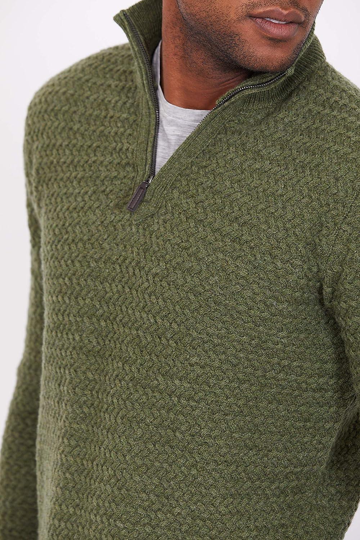 Men/'s Basket-Knit Half Zip Jumper Jack Stuart 100/% Lambswool