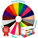 3D Pen Filament Refills - 656ft 1.75mm PLA Filament Pack of 20 Different Popular Colors (32.8ft Each) Included 2 Glow in the Dark - Plastic Filament for 3D Printing Pen
