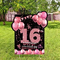 RUODON 16th Black Rose Gold Happy Birthday Yard Sign Happy 16th Birthday Yard Sign Decorations with Stakes for Birthday…
