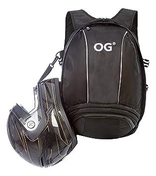 OG Online&Go Mochila Moto Negra de 25-35L, Bolsa Portacascos, Correa Casco Moto, Mochila Antirrobo Impermeable, Portátil, Reflectante