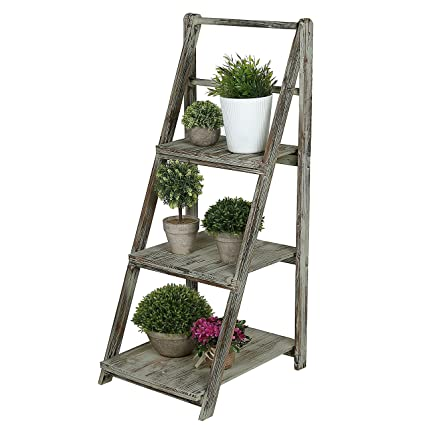 Amazon.com: 3 Tiered Rustic Torched Wood A-Frame Ladder Shelving ...