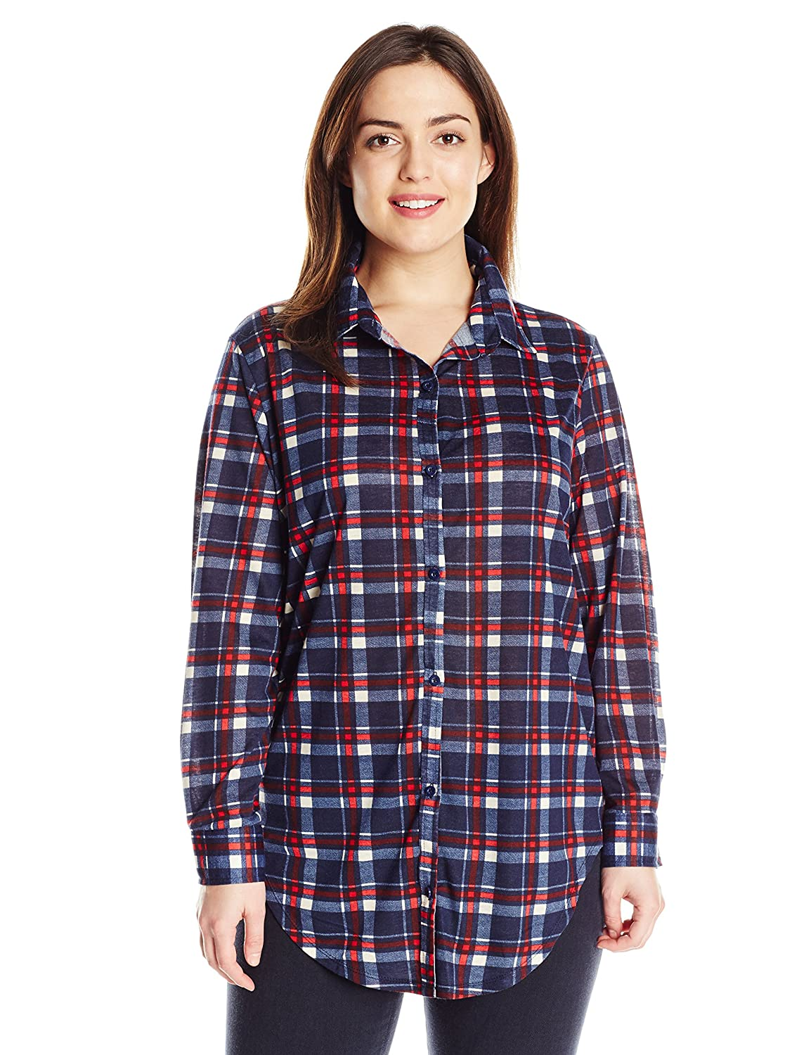 Paper + Tee Women's Plus-Size Printed Plaid Tunic Top Paper + Tee Womens Child Code K63911X