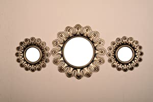 All American Collection New Separated 3 Piece Decorative Mirror Set, Wall Accent Display (Gold Crown)